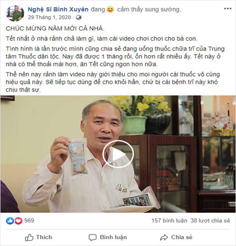 Nghệ sĩ Bình Xuyên chia sẻ hiệu quả bài thuốc Thăng trĩ Dưỡng huyết thang trên trang cá nhân